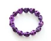 Purple Skull Bead Bracelet