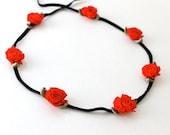 S A L E   Red Rose Flower Headband, Head Wrap