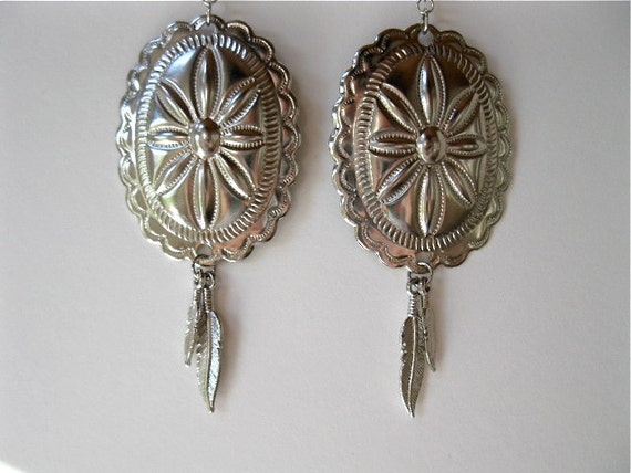 Sale - FREE SHIPPING - Silver Concho Bohemian Navajo Feather Earrings