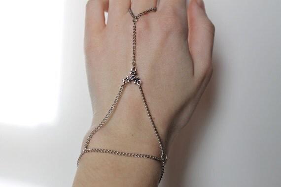 Triangle Silver Slave Bracelet, Hand Piece, Hand Jewelry