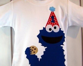 Custom Cookie Monster Sesame Street Birthday Shirt.