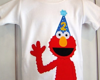 Custom Elmo Sesame Street Birthday Shirt.