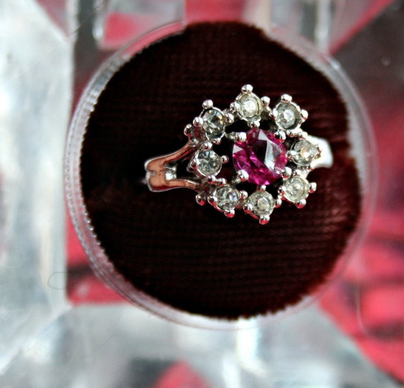 Pink and Crystal Cluster Ring - Providence Stock Company Size 6