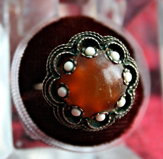 Retro Hippie Amber Colored Ring - Size 7