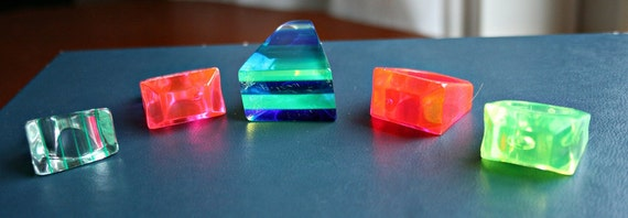 Chunky Funky Five Pack of Groovy Lucite Rings - Rainbow