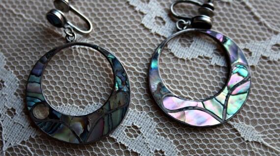 Stunning Sterling Abalone Earrings