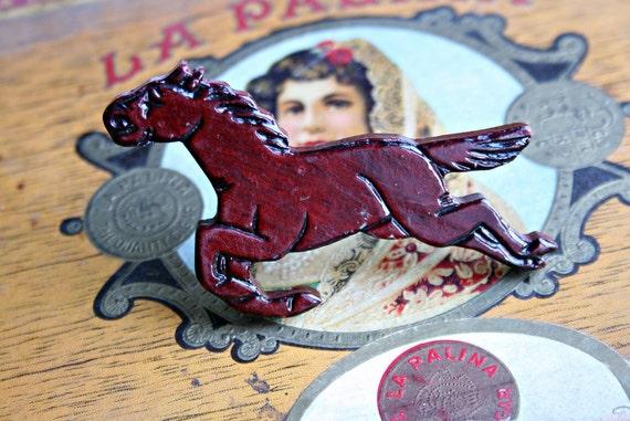 Rustic Wooden Stallion Brooch