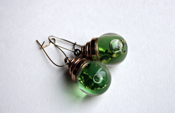 Tiny Green Glass Real Water Ball Earrings with Abalone- Shepard Hook - Light Green