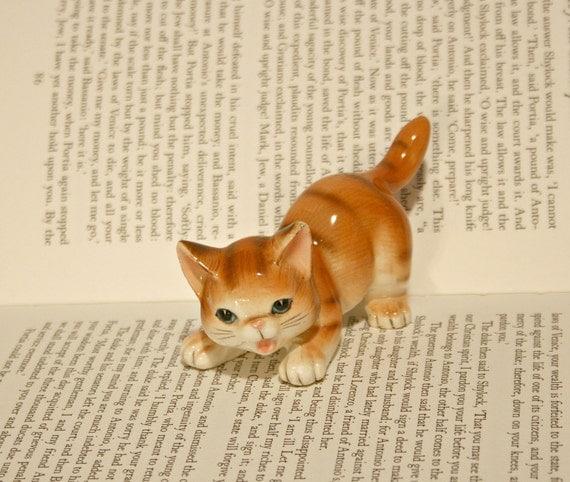 Happy Orange Tabby Cat Figurine - Japan -Sweet Expression Playful Kitten