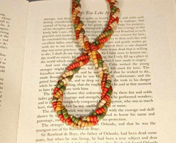 Vintage Boho Gypsy Hippie Necklace - Multi Colored Wood Beads -Natural Bohemian Necklace