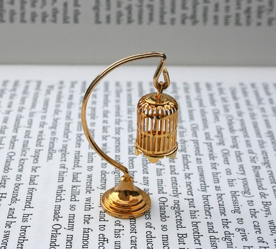Miniature Brass Bird Cage - Dollhouse Decor - Gold Tone BirdCage