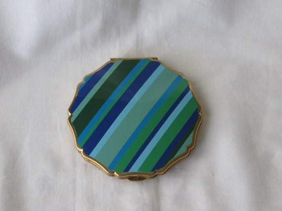 Stratton Striped Enamel Compact - 1970's