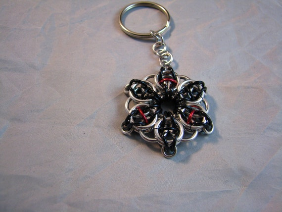 Celtic vision keychain in silver, black and red