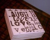 Live Laugh Love Coasters Four Piece Ceramic Tile Set