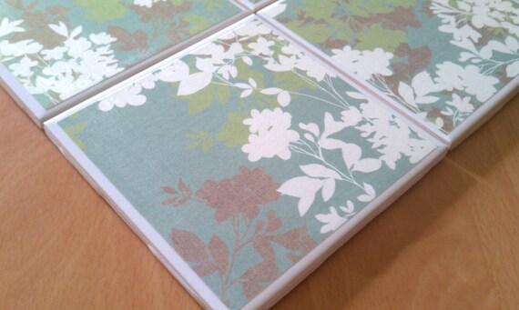 Retro Floral Four Piece Ceramic Tile Coaster Set