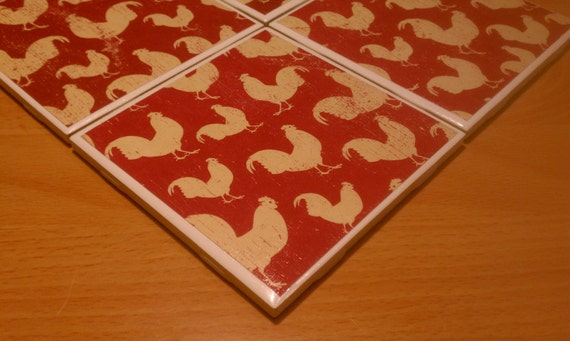 Down On The Farm With The Roosters Ceramic Tile Four Piece Coaster Set