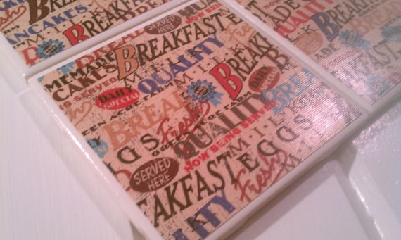 SALE! Breakfast Coasters Ceramic Tile Four Piece Set