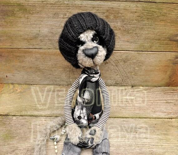 Gothic Creepy Cat Johnny. 20'' tall.  OOAK  plush doll.