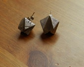 Large Silver Abstract Pyramid Triangular Spike Earrings