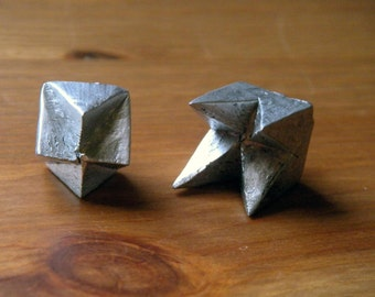 Large Silver Abstract  Pyramid Spike Asymetrical Pair Earrings