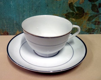"""CLEARANCE-Modern China """"Fine China"""" Wedding Day  Platinum Rimmed Tea Cup and Saucer"""
