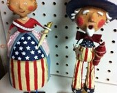 2 pc. Lady Liberty & Uncle Sam Wood Lawn Ornament set