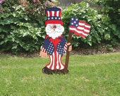 Patriotic Uncle Sam July 4th Handmade Wood Lawn Ornament- LOWERED THE PRICE