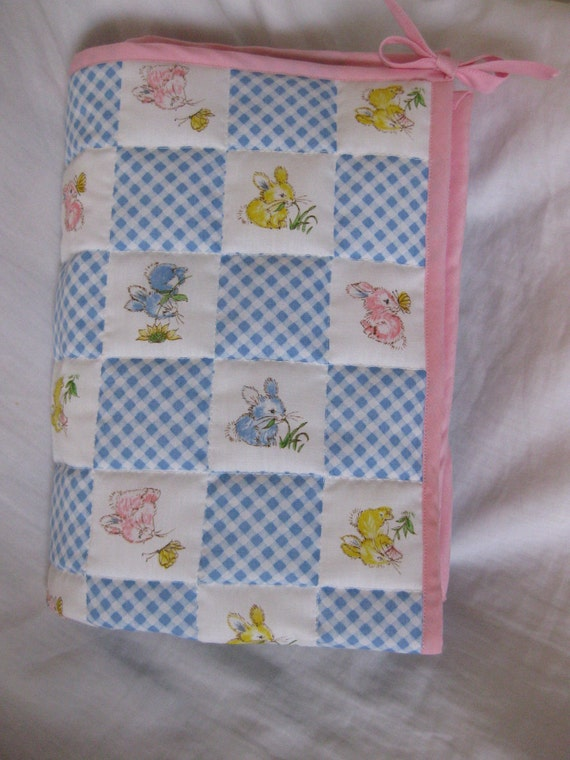 Vintage Fabric Doll Quilt.