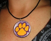 Clemson Tigers Poster Logo Poker Chip Sized Pendant Necklace Bling 4
