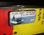 US Navy Recruitment Poster Domino Sized Pendant Necklace Life Liberty and the pursuit of all who threaten it