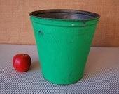 SALE  -  vintage green sap bucket or craft storage