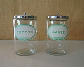 vintage medical or apothecary cotton and gauze glass jars