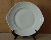 vintage white serving plate or platter with scalloped edges and handles