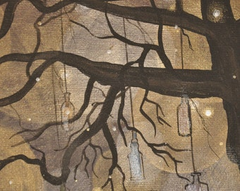 Old South Tree Painting with Bottles in Tree and Fireflies