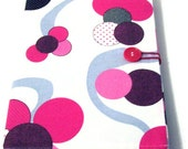 Composition Book, Fabric Covered, Pink and White with 4 Pockets