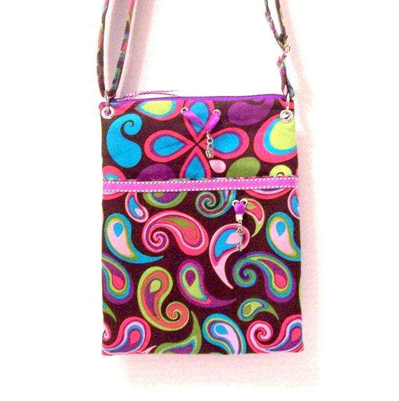 Swing Bag, Paisley Cross Body Purse with Purple Accents, zipper closure, key fob, zipper pocket and slip pockets