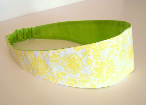 Fabric Headband, Reversible Spring Green and Yellow Floral