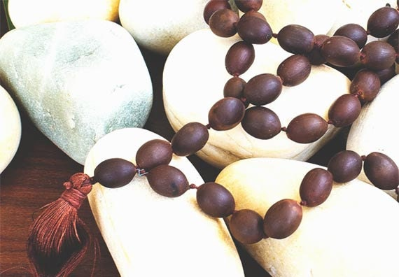 Lotus Seed Mala Beads for Yoga & Meditation - 108 beads, Knotted - Matte Brown