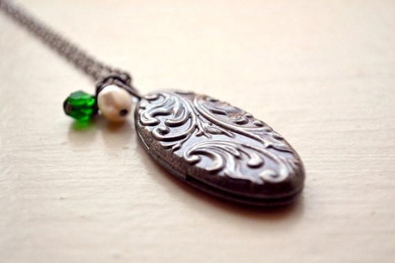 Beautiful Gunmetal Locket with Czech Glass Beads