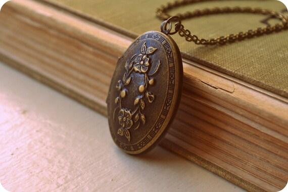 Large Oval Locket Vintage Inspired Necklace