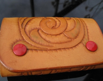 Hand tooled '70s leather key holder