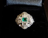 SALE Vintage Art Deco Emerald & Diamond Platinum Engagement Ring c1920's