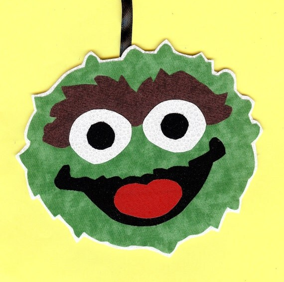 Personalized Oscar The Grouch ornament handmade fabric
