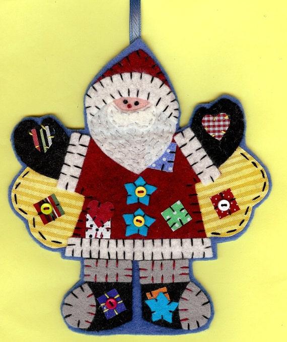 Personalized angel santa Christmas tree ornament handmade fabric