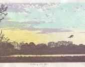 Etang le soir (a pond at sunset) - hand pulled moku hanga color woodblock print