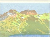 Puig Pedros - French Pyrenees mountains, hand pulled moku hanga woodblock print