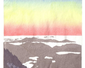 Dawn at the top of Carlit Peak (2971m) - Pyrenees mountains, hand pulled moku hanga woodblock print