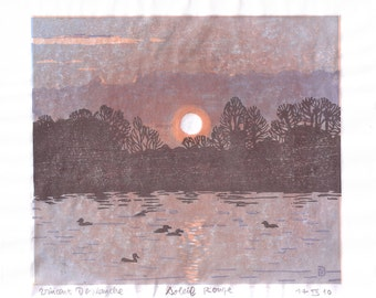 Soleil Rouge - hand pulled moku hanga color woodblock print
