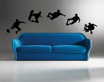 5 Skateboarder  Removeable Vinyl Wall Decals