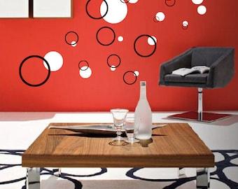 30 Bubble Circles  2 colors Vinyl wall art decals bedroom decal bathroom decal